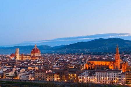 Beautiful views and peace of Florence cityscape in the background Cathedral Santa Maria del Fiore at sunset in Italy, Europe