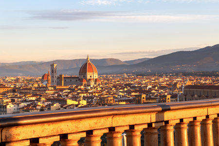 Beautiful views and peace of Florence cityscape in the background Cathedral Santa Maria del Fiore at sunrise in Italy, Europe