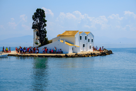 Panoramic view of the beautiful Vlacherna monastery on the island of Corfu in Greece (Kerkyra)