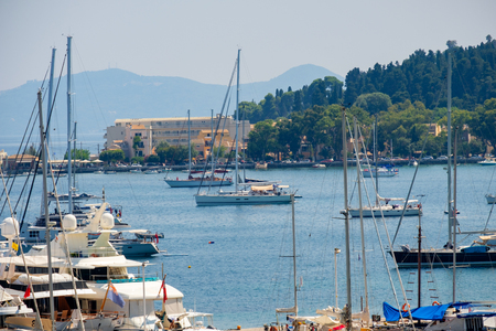 Beautiful island of Corfu and harbour in Greece ( Kerkyra )