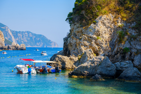 Beautiful island of Corfu, Paleokastritsa bay with charming and wonderful panoramic views in Greece ( Kerkyra)