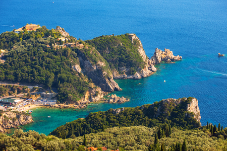 Beautiful island of Corfu, heart-shaped Paleokastritsa bay with charming and wonderful panoramic views in Greece ( Kerkyra) Imagens