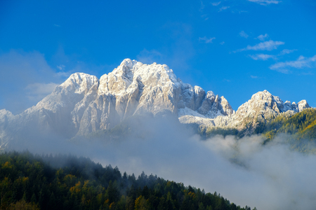 Beautiful autumn colors  in the background the Martuljek mountain near the  Kranjska  Gora at Triglav national park  in Slovenia,Europe