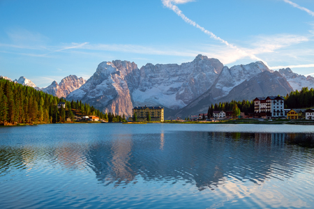 Misurina lake beautiful surroundings  the background Sorapiss mountain and Cristallo mountain of the north Dolomites in Italy, Europe. Near the lake the Drei Zinnen mountain ((Tre Cime di Lavaredo)