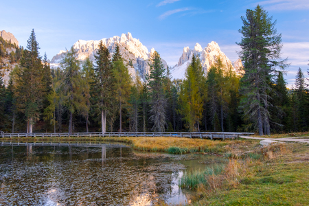 Beautiful Lago Di Antorno lake at background Cadini mountain on the Dolomites in Italy