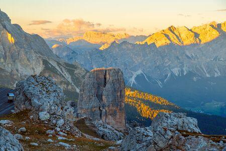 Cinque Torri mountains the background Tofane mountain near the famous town of Cortina dAmpezzo, Dolomites Mountains in Italy
