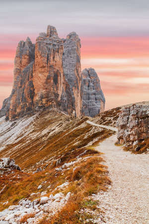 Beautiful and famous Dolomites giant mountains peaks, near Drei Zinnen ( Tre Cime di Lavaredo) in the wonderful sunset of South Tyrol in Italy Stock Photo