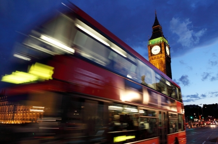 london night: Red bus in front of Big Ben in London