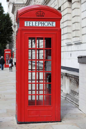 telephone box: Red telephone booth in London