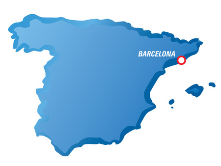 barcelona  spain: Dwaring map of Spain and Barcelona