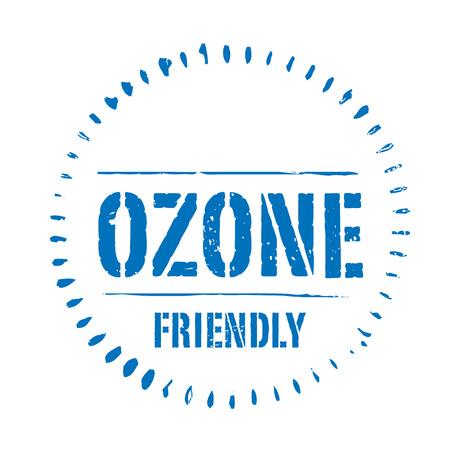 ózon: Kék vektor grunge bélyegző ózonbarát Illusztráció