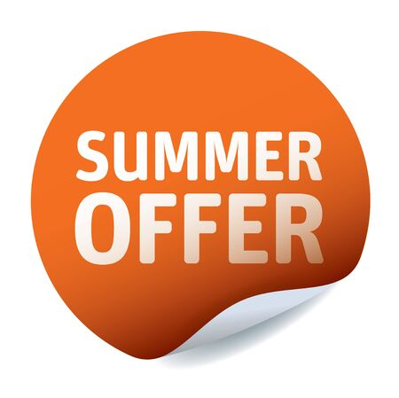 Orange vector sticker. Sommer offer. Illustration