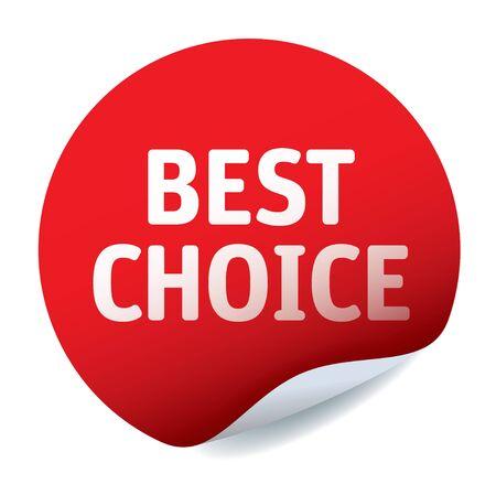 Red vector sticker. BEST CHOICE. Illustration