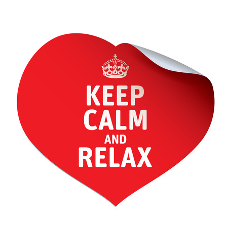 calm: Red vector sticker KEEP CALM and RELAX. Illustration