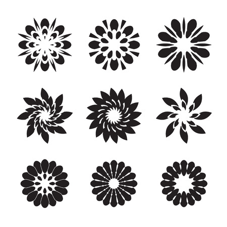 abstract symbolism: Set of black vector flowers and stars Illustration