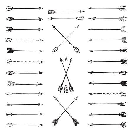 Set of black vector drawing arrows Stock Illustratie