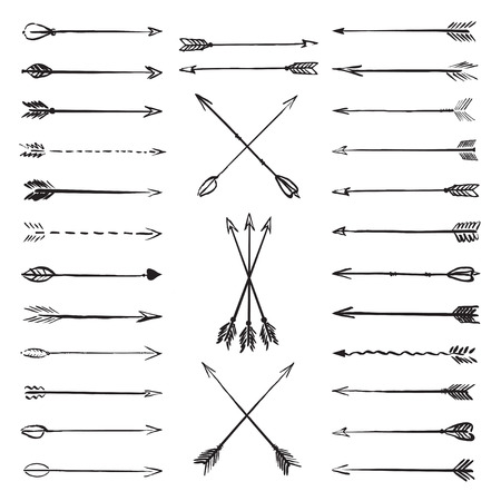 Set of black vector drawing arrows Illustration