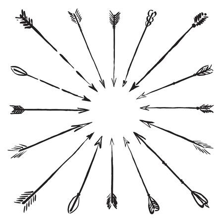 黒いベクター描画の矢印  イラスト・ベクター素材