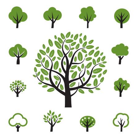 Set of vector tree icon Stock Illustratie