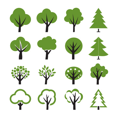 Set of vector tree icon Ilustrace