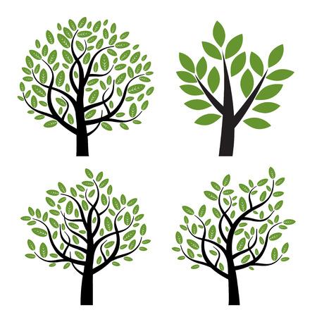 Set van bomen met groene bladeren