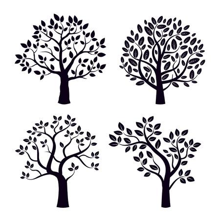 Set of shapes black trees.