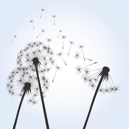 posterity: Black dandelions on blue background Illustration