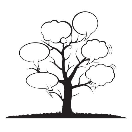 speech ballons: Tree and comics bubbles Illustration