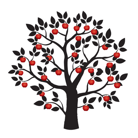 apple red: Black tree and red apple Illustration