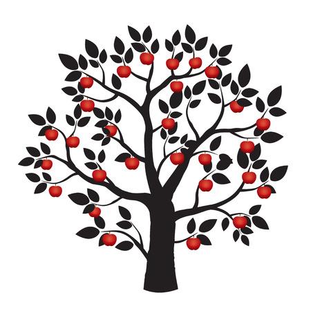 apfelbaum: Schwarz-Baum und roten Apfel Illustration