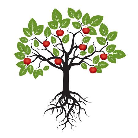 Boom Groene Blaadjes en Red Apple. Stock Illustratie