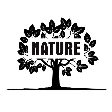 tree canopy: Black tree and text NATURE
