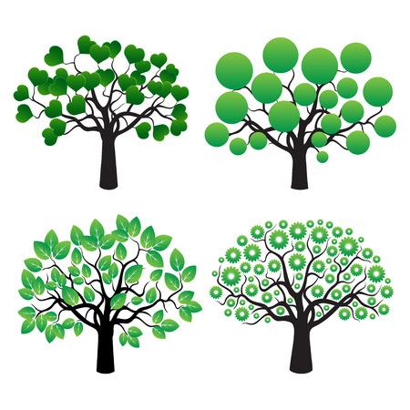 Set van Vector Trees. Stock Illustratie