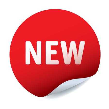 nowy: Czerwone naklejki i tekst NOWY Ilustracja