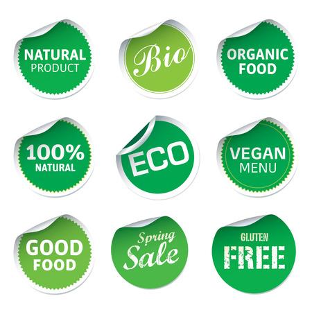 peeling corner: Set of Green Eco Stickers