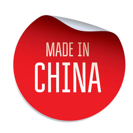 made in china: Red Sticker and text MADE IN CHINA