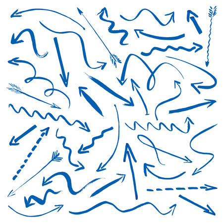 Reeks blauwe hand getekende pijlen