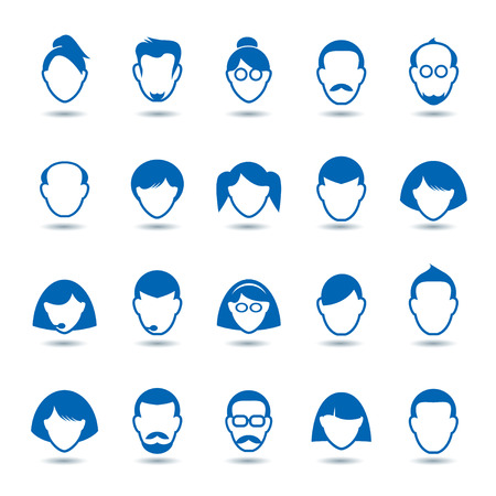 Set of Blue Human Icon. Corporation people. Avatars.