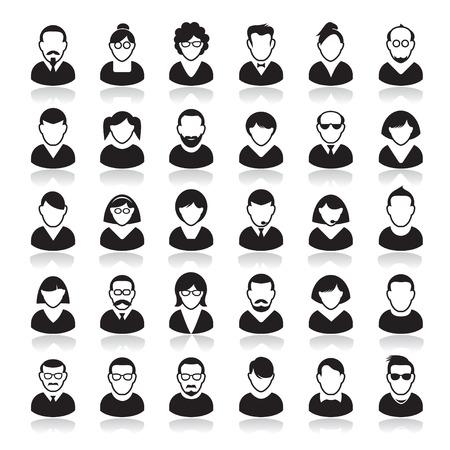 Conjunto de iconos humana. Personas Corporation. Avatares. Foto de archivo - 43421299
