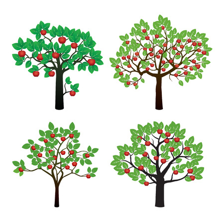 Set of Apple Trees. Vector Illustration and Graphic Elements.