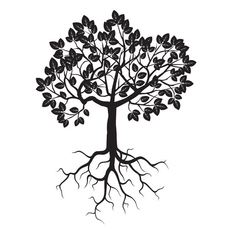 Black Tree and Roots. Vector Illustration. Vectores