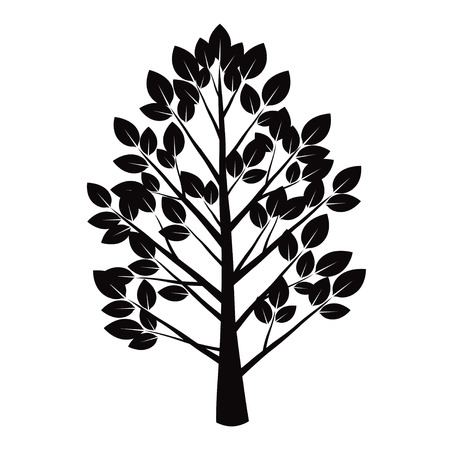 leafs: Black Tree and Leafs. Vector Illustration.