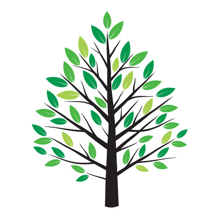 green leafs: Color Tree and Green Leafs. Vector Illustration. Illustration