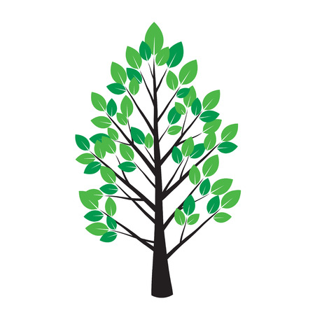 leafs: Color Tree and Green Leafs. Vector Illustration. Illustration