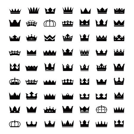 Reeks zwarte kronen Stock Illustratie