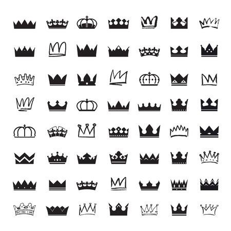 royal crown: Conjunto de coronas negras Vectores