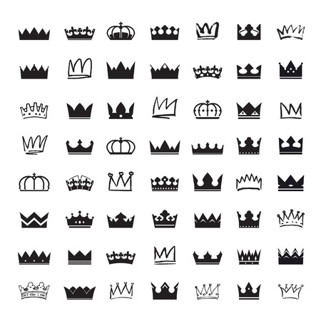 crown silhouette: Set of black crowns