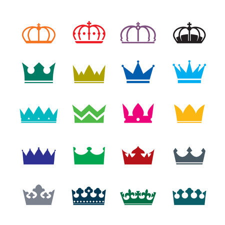 Crown King: Conjunto de coronas de color Vectores