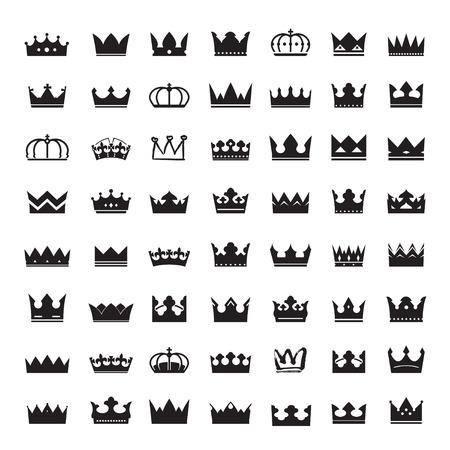 corona rey: Conjunto de coronas negras Vectores