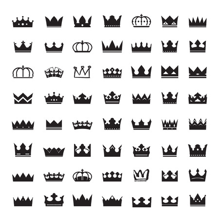 corona real: Conjunto de coronas negras Vectores